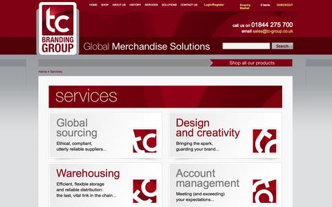 Screenshot of Services Page tc-group.co.uk - Promotional Merchandise Services - captured Oct. 26, 2014