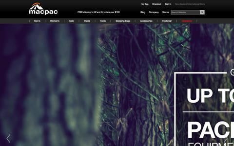Screenshot of Home Page macpac.co.nz - Outdoor Clothing & Equipment Store | Macpac - captured Sept. 23, 2014