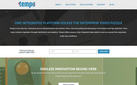 Screenshot of Home Page tempoeverywhere.com - Fully Integrated Enterprise Video Platform | Tempo - captured Oct. 7, 2014