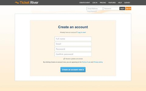 Screenshot of Signup Page ticketriver.com - Ticket River - captured Nov. 4, 2014