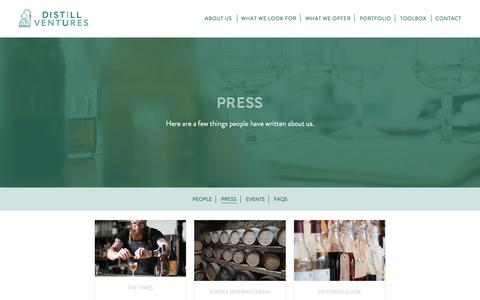 Screenshot of Press Page distillventures.com - Press Archive - Distill Ventures - captured Aug. 2, 2016