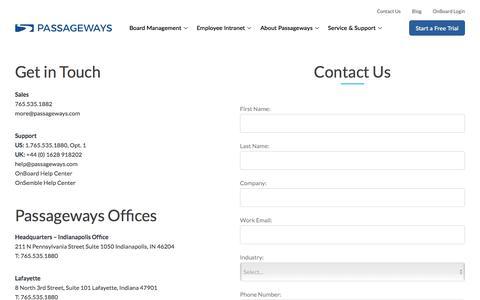 Screenshot of Contact Page passageways.com - Contact Us | Passageways Enterprise Collaboration Software - Passageways Board Portal Software - captured Jan. 9, 2020