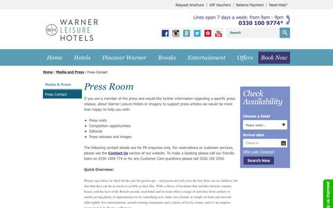 Screenshot of Press Page warnerleisurehotels.co.uk - Press Contact – Warner Breaks | Warner Leisure Hotels - captured Jan. 30, 2016