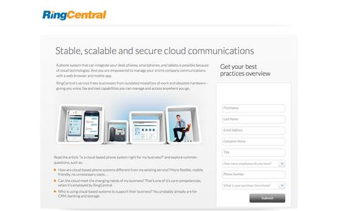 Screenshot of Landing Page ringcentral.com - Stable, scalable and secure cloud communications - captured June 2, 2016
