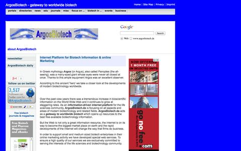 Screenshot of About Page argosbiotech.de - Internet Platform for Biotech Information and online Marketing - captured Sept. 30, 2014
