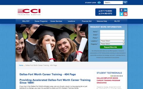 Screenshot of Locations Page cci-training.com - Dallas-Fort Worth Career Training - 404 Page -  CCI Career Training Center - captured Oct. 1, 2014