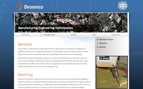 Screenshot of Services Page desemco.com - Services - captured Oct. 5, 2014
