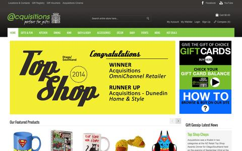Screenshot of Home Page acquisitions.co.nz - Welcome to Acquisitions — Perfect for Gifts — Acquisitions - captured Oct. 4, 2014