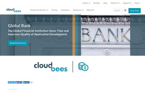 Screenshot of Case Studies Page cloudbees.com - Top Global Financial Institution Saves Time and Improves Quality of Application Development | CloudBees - captured Aug. 8, 2018