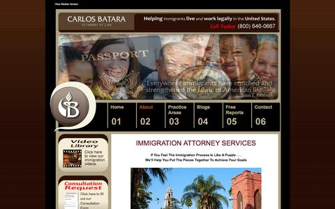 Screenshot of About Page bataraimmigrationlaw.com - Riverside Immigration Lawyer | Riverside Deportation Attorney CA - captured March 6, 2016