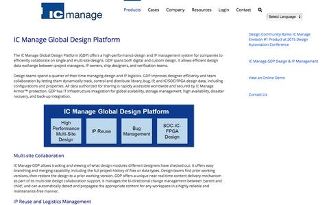 Screenshot of Products Page icmanage.com - Global Design Platform (GDP) - ICMANAGE - captured May 17, 2017