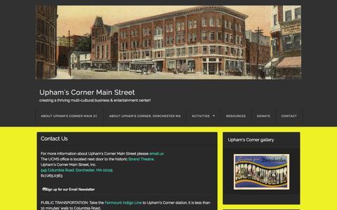 Screenshot of Contact Page uphamscorner.org - Contact Us | Upham's Corner Main Street - captured Oct. 6, 2014