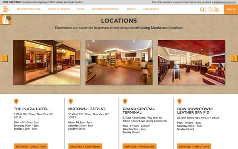 Screenshot of Contact Page Locations Page leatherspa.com - Locations – Leather Spa - captured June 17, 2016