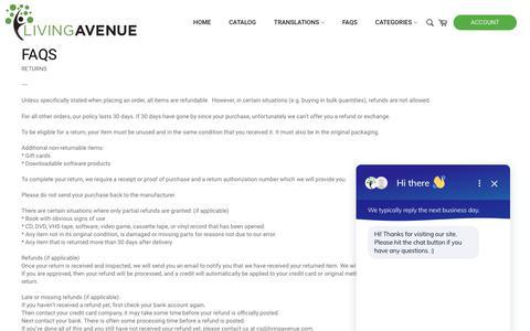 Screenshot of FAQ Page livingavenue.com - FAQs - captured Sept. 26, 2018