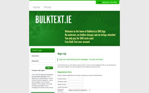 Screenshot of Signup Page Trial Page bulktext.ie - Best SMS Texting Service in Ireland - Bulktext.ie - captured Feb. 8, 2016