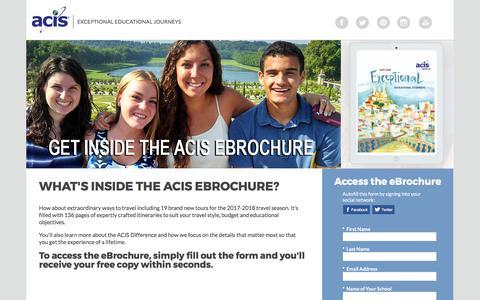 Screenshot of Landing Page acis.com - ACIS eBrochure - captured Sept. 13, 2017