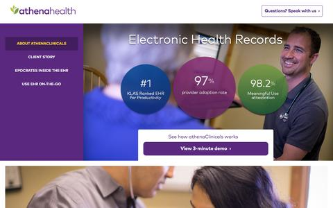 Screenshot of Landing Page athenahealth.com - Cloud-Based EHR and Practice Management Services | athenahealth - captured Dec. 9, 2015