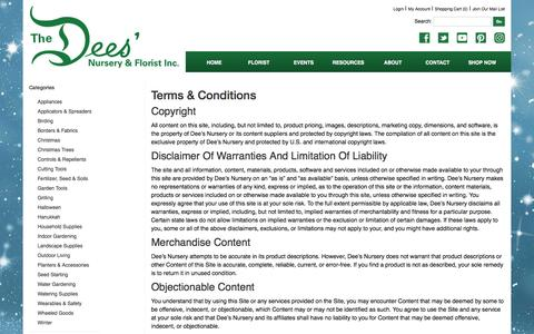 Screenshot of Terms Page deesnursery.com - Terms and Conditions - captured Nov. 24, 2016