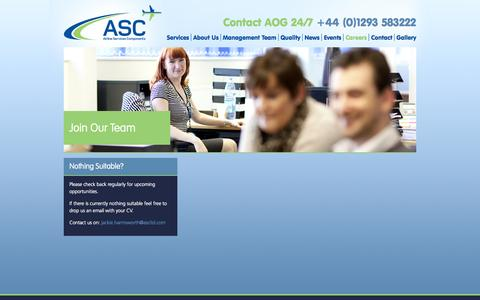 Screenshot of Jobs Page ascltd.com - Careers, Airline Services Components - captured Oct. 4, 2014