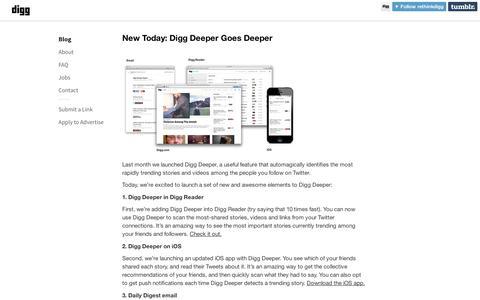 Screenshot of Blog digg.com - Digg Blog - captured Sept. 12, 2014