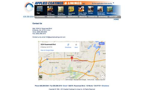 Screenshot of Maps & Directions Page appliedcoatings.com - Industrial Coating - Applied Coatings & Linings - Contact Us - captured Oct. 4, 2014