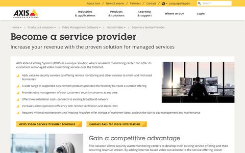 Screenshot of axis.com - Become a service provider | Axis Communications - captured Oct. 13, 2017