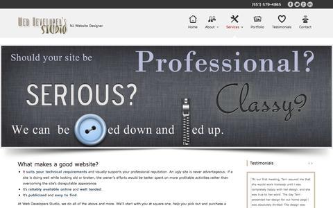 Screenshot of Services Page webdevelopersstudio.com - Web design and development by Web Developers Studios, NJ website designer - captured Sept. 22, 2014