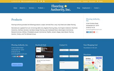 Screenshot of Products Page flooringauthorityinc.com - Commercial Flooring Albany NY | Commercial Floor Installer Albany | Commercial Floor Replacement Albany NY | Flooring Authority, Inc. - captured Aug. 15, 2018