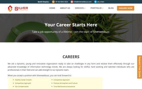 Screenshot of Jobs Page silverwebbuzz.com - ERP Software Development Ahmedabad, ERP Web Development Services, ERP Web Solution India - captured Nov. 7, 2018