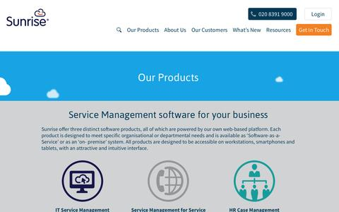 Screenshot of Products Page sunrisesoftware.com - Service Management Solutions from Sunrise Software | Sunrise Software - captured Feb. 23, 2016