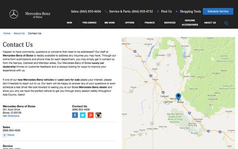 Screenshot of Contact Page Maps & Directions Page lylepearsonmercedes.com - Contact Mercedes-Benz of Boise in Boise Idaho - captured Dec. 17, 2017