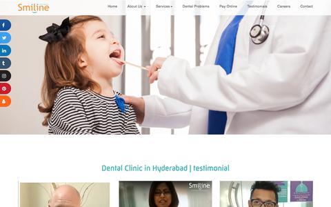 Screenshot of Testimonials Page smiline.com - Testimonial of Best Dental Care hospitals in Madhapur,Hyderabad,India - captured Jan. 12, 2020