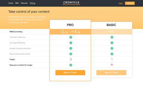 Screenshot of Pricing Page cronycle.com - Cronycle - captured Oct. 3, 2014