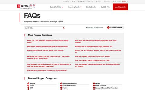 Screenshot of FAQ Page toyota.com - Toyota FAQs | Send Questions to Toyota Customer Service - captured July 14, 2019
