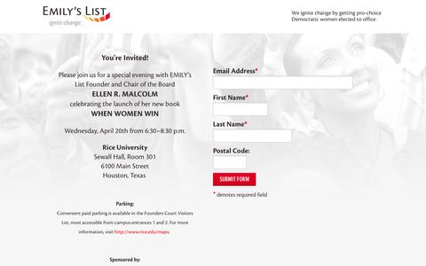 Screenshot of Landing Page emilyslist.org - EMILY's List  |  Join Us At Politics And Prose - captured Oct. 18, 2016