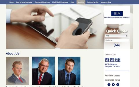 Screenshot of About Page saundersins.com - About Saunders Insurance Agency | Gallipolis, OH - captured Oct. 4, 2014