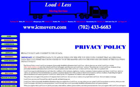 Screenshot of Privacy Page icmovers.com - Load 4 Less - PRIVACY POLICY - captured Jan. 7, 2017