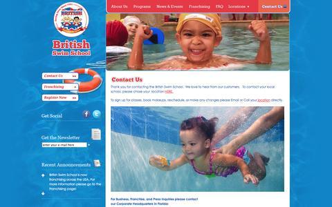 Screenshot of Contact Page britishswimschool.com - Children's Swimming Lessons   Swim School    British Swim School - captured Sept. 30, 2014