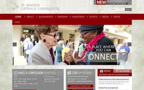 Screenshot of Home Page stmonica.net - St Monica Catholic Community - captured Aug. 19, 2015