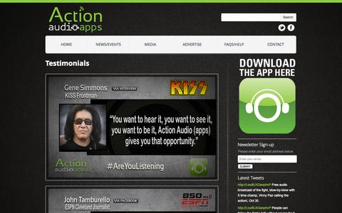 Screenshot of Testimonials Page actionaudioapps.net - Testimonials | ActionAudioApps - captured Nov. 2, 2014