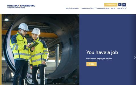 Screenshot of Home Page bergman-engineering.com - Start | Bergman Engineering - captured Nov. 6, 2018
