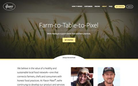 Screenshot of About Page flavorplate.com - A Product And a Mission To Help Support Farm-To-Table Restaurants - captured Sept. 30, 2014