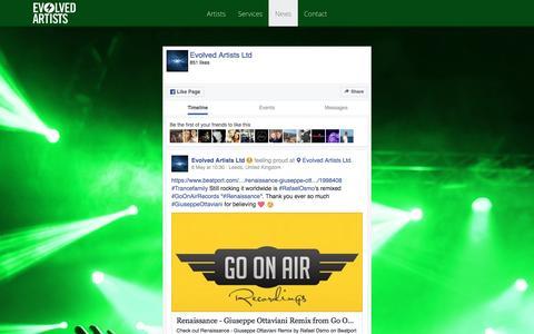 Screenshot of Press Page evolvedartists.com - News - captured May 11, 2017