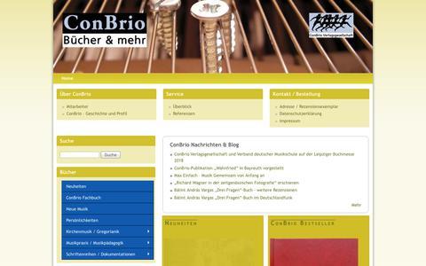 Screenshot of Home Page conbrio.de - ConBrio – Musikbücher & mehr | Musikbücher & mehr - captured June 13, 2018