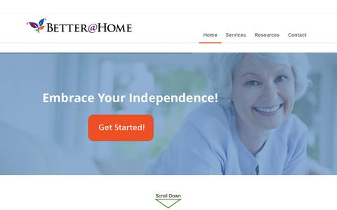 Screenshot of Home Page betterathome.us - Home - Better At Home - captured Sept. 19, 2015