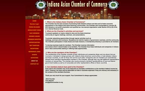 Screenshot of About Page asianchamber-in.org - ABOUT US - Indiana Asian Chamber of Commerce - captured Feb. 10, 2016