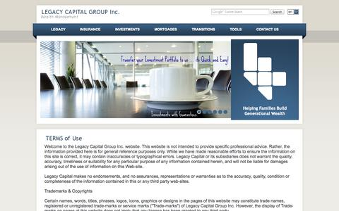 Screenshot of Terms Page legacycapital.ca - Terms of Use - LEGACY CAPITAL GROUP Inc. - captured Oct. 2, 2014