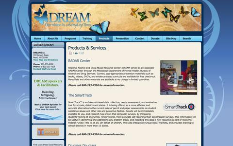 Screenshot of Products Page dreaminc.org - Products & Services - captured Sept. 30, 2014