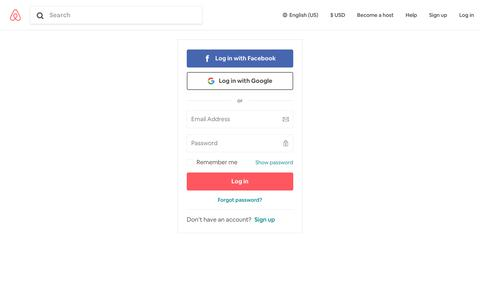 Screenshot of Login Page airbnb.com - Log In / Sign Up to Airbnb - captured Dec. 4, 2019