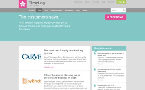 Screenshot of Testimonials Page timelog.com - Read about our customers' experiences with TimeLog Project. - captured Oct. 2, 2015